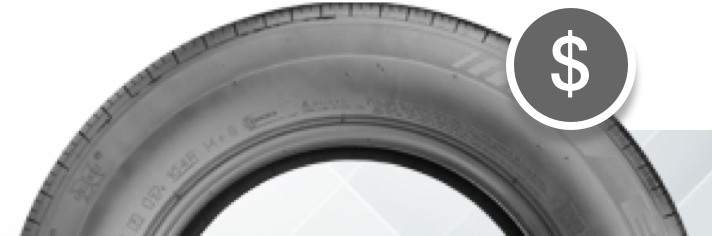 Tire with with dollar icon