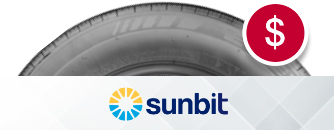 Sunbit logo next to tire with with dollar icon